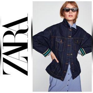 NWT Zara Oversized Denim Jacket with Ribbed Cuffs